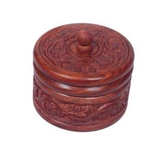 Onlineshoppee Kitchen Utilities (Misc) - Onlineshoppee Wooden Dry Fruit Box With Hand Carved design. Size (lxbxh-4x4x4) Inch AFR914