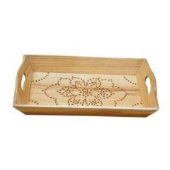 Onlineshoppee Wooden Hand Made Fancy Design Serving Tray - YellowCA212A