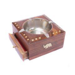 Ashtrays - Onlineshoppee Wooden Brass Inlaya Ashtray   Cig. Case CA257