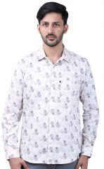 Favio Men's Slim Fit Full Sleeve Shirt Cotton White Floral Print