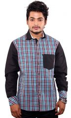 FAVIO MEN'S CASUAL FULL SLEEVE BLUE CHECK MULTI COLOR SHIRT