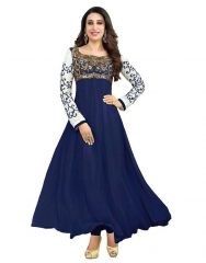 Multi Retail Blue Embroidered Georgette Unstitched Dress Material With Dupatta_A404DLSF180SN_1