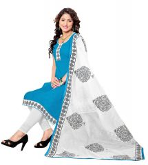 Multi Retail Blue Embroidered Cotton Semi Stitched Dress Material With Dupatta_B225DLSF481SN