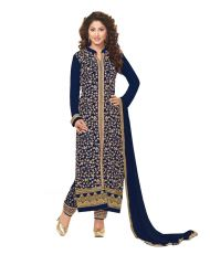 Multi Retail Blue Embroidered Georgette Unstitched Dress Material With Dupatta_B822DLSF575SN