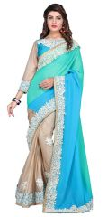 Multi Retail Blue Georgette Party Wear Embroidery Saree With Unstitched Blouse-C15SEB800BI