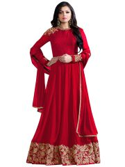Multi Retail Red Embroidered Georgette Unstitched Salwar Suit With Dupatta_C703DLNIREHA