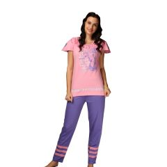 De'Moda Women's Pink and Purple Night Suit (Code - DM9722-1-DM)