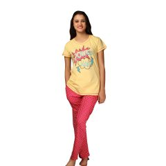 De'Moda Women's Pink & Yellow Night Suit (Code - DM9734-1-DM)