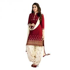 Fabnil Casual Wear Maroon Colored Chanderi Embroidered Dress Material ( Sn-0376 )