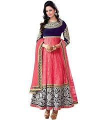 Stylish Pink Net And Velvet Semi Stiched Salwar Suit