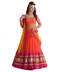 Chaniya, Ghagra Cholis - Forever Shoppers Orange Net Lehenga Choli