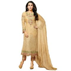 Dress Materials (Singles) - MF Retail Beige Color Faux Georgette Fabric Heavy Embroidered semi stitched Pakistani Straight Suit (Product Code - Embroid_67012)
