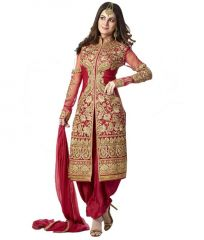 Decent World Red Unstitched Embroidered Georgette Salwar Suit Dupatta Mater