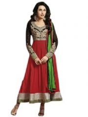 Trendz Apparels Anarkali Suits (Unstitched) - Trendz Apparels Red 60 Gm Georgette Anarkali Suit Salwar Suit - (code - Vs350)