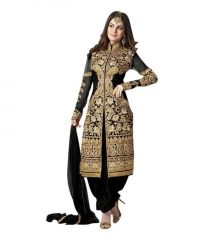Decent World Black Unstitched Embroidered Georgette Salwar Suit Dupatta Mat