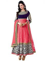 Surat Tex Dress Materials (Singles) - Surat Tex Pink Color With Net Semi-stitched Anarkali Suit-g269dl2088sy