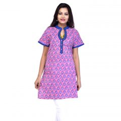 Mystique India Pink Half Sleeve Chinese Collar Cotton Kurti for Women