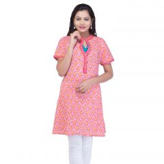 Mystique India Orange Half Sleeve Chinese Collar Cotton Kurti for Women