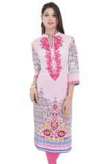 Mystique India Pink 3/4 Sleeve Chinese Collar Cotton  Long Kurti For women
