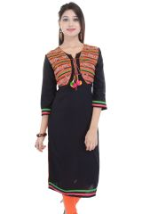 Mystique India Black 3/4 Sleeve Round Neck Rayon Long Kurti For women
