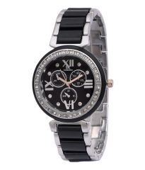 Iik Collection Round Dial And Black Chain Quartz Beautiful Watch For Women