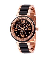 Iik Collection Round Dial And Black Chain Quartz Watch For Women