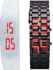 New White And Black Digital Led Watch For Men Women,s