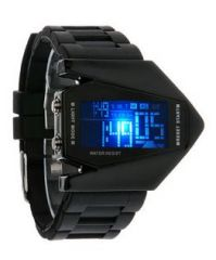Men's Watches   Digital - Kolors Aircraft Black Silicon Led Digital Watch for men
