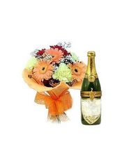 Gifts Valley Champagne Gift with Fresh Flowers Gift Items