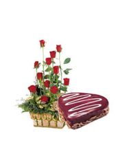 Gifts Valley 1 kg Heartcake with 15 Red Roses Basket Gift Items
