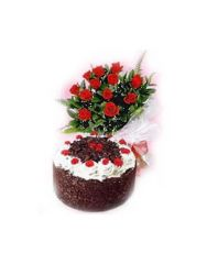 Gifts Valley 12roses with 1Lb Black Forest cake Gift Items