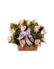 Gifts Valley Sweet & Soft Pink Roses Basket Gift Items