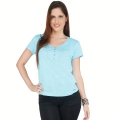 Meish Light Blue Lace pattern 100% Cotton Top for Women - ME31LBLU