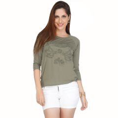 Meish Green Printed Cotton Blend Top for Women - ME32GRN