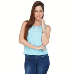 Meish Light Blue Embroidered 100% Cotton Top for Women - ME37LBLU
