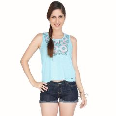 Meish Light Blue Embroidered 100% Cotton Top for Women - ME38LBLU