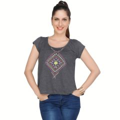 Meish Dark Grey Printed Cotton Blend Top for Women - ME42DGRY