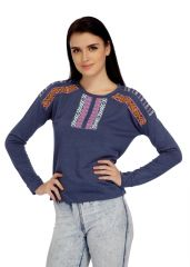 Meish Light Blue Cotton Blend Embroidered Top for Women - ME65B