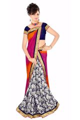 Naaidaakho Gorgeous Pink And White Printed Saree - (Code - 13005)