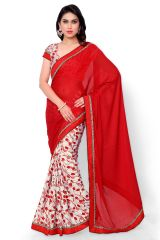 Naaidaakho Red And White Printed Saree - (Code - 2NIDK02)