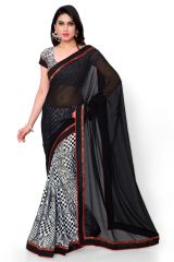 Naaidaakho Black And White Printed Saree - (Code - 2NIDK08)