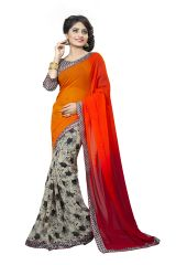 061794e6e0ff18 Naaidaakho Orange And Light Beige Printed Lace Border Saree - (Code -  3NIDK01)