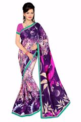 Naaidaakho Gorgeous Blue And Pink Printed Saree - (Code - 6001)