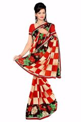 Naaidaakho Gorgeous Red And White Printed Saree - (Code - 6005)