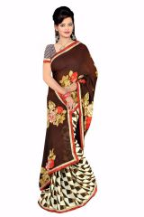 Naaidaakho Gorgeous Brown And White Printed Saree - (Code - 6007)