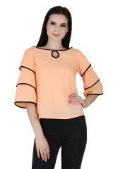 Jollify Peach colour fashionable Women's Top(product code-3aastinpeach_