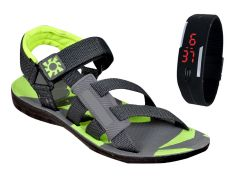 Jollify Green Sandal with Free Digital Watch