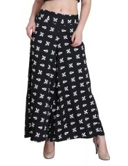 Jollify Womens Black Printed Plazzo (pz001blck)