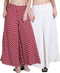 Jollify Regular Fit Women's Maroon and white Plazzo (packup2)(pz002redPz06white)