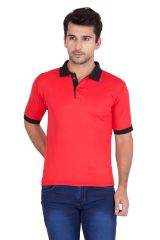 Jollify Men's Polo Collar Red T-Shirt(PRODUCT CODE-TSCONTRASTRED_)